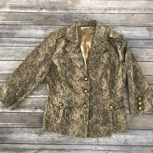 Joan Rivers Gold Jacket Blazer 3/4 Sleeve LG Nice